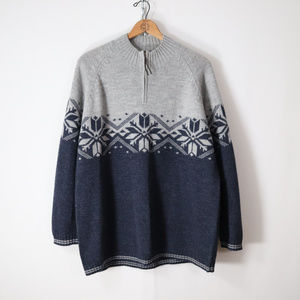 vintage 3X pure wool nordic pullover sweater
